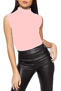 ccb23683a4d8c New Womens Sleeveless Ladies Stretch Turtle Polo Roll Neckline Vest Plain T- Shirt Top Plus