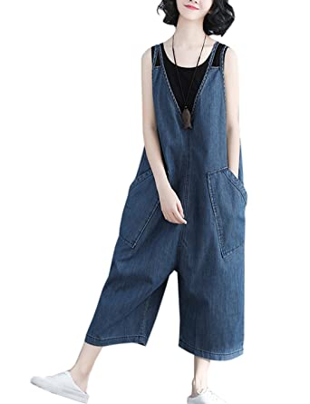 bda3d1ed0c37 Flygo Women's Casual Overalls Rompers Jeans Denim Cropped Pants Wide Leg  Low Crotch Big Pockets (