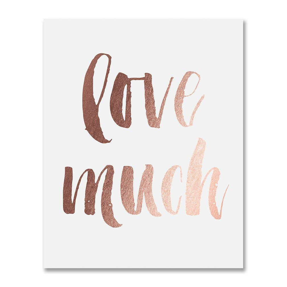 Love Quote Print Poster Rose Gold Wall Art
