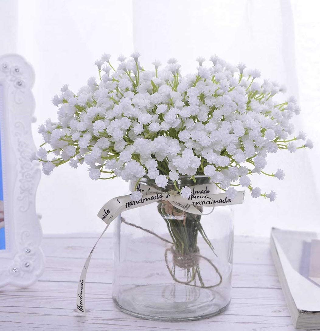 Pack of 2 Gypsophila Grass Bushes White Flowers 30 cm Artificial Flowers