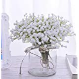 10Pcs 30 Bunches White Babys Breath Artificial Flowers Real Touch Fake Gypsophila Faux Plants for Wedding Garland Wreath Girl