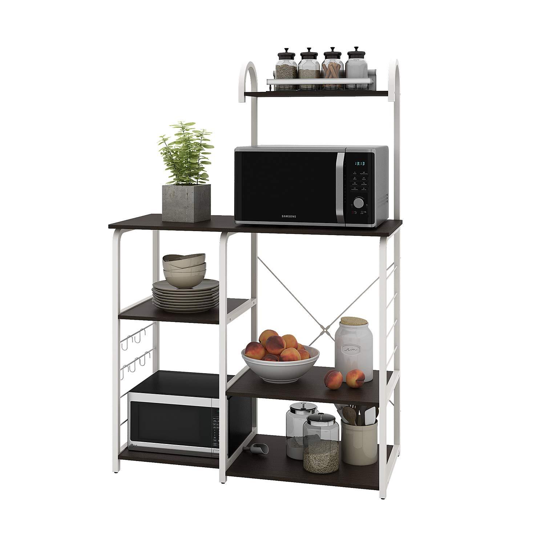WLIVE Kitchen Baker s Rack, 4-Tier Utility Storage Shelf, Microwave Oven Stand, Storage Cart Workstation Shelf with Hooks