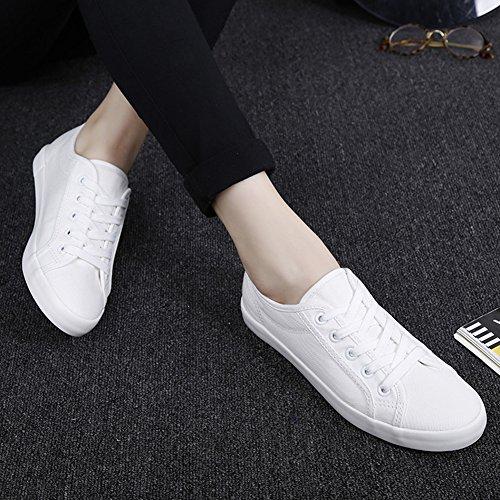 Aisun Damen Klassisch Einfarbig Runde Zehen Schnürsenkel Low Top Flache Sneakers Weiß