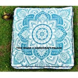 """""""Handicraftspalace"""" Ombre Mandala Floor Pillow Indian Ottoman Pouf Cover Outside Seating Bed Pets Bed Daybed Big Seating Floor Pillow Cover Pouf Square Cushion Case"""