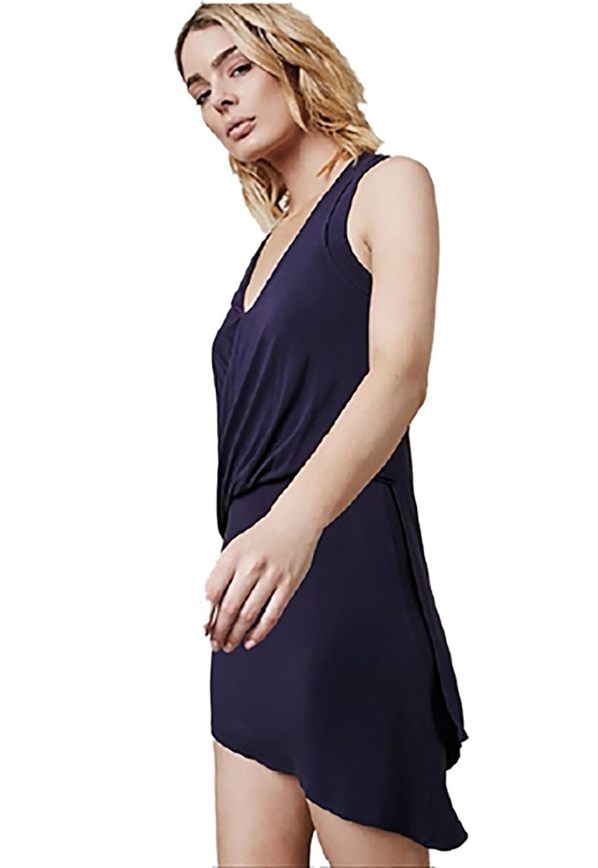 Krisa Asymmetrical Surplice Mini Dress in Cosmos