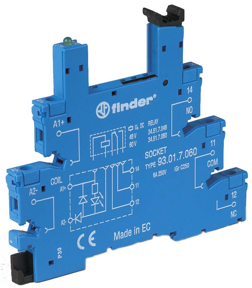 Finder 93.01.7.024 DIN-Rail screw terminal (Box Clamp) Socket for 34 Series relay by FINDER (Image #1)