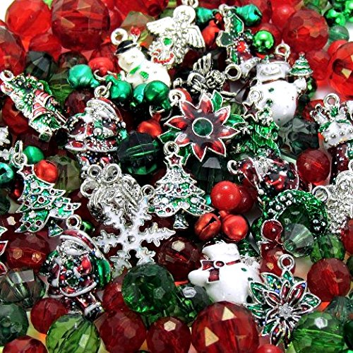 Roxy Jewels - BIG LOT 24 Assorted CHRISTMAS Enamel Holiday Craft Charms Plus Bonus Beads & Bells