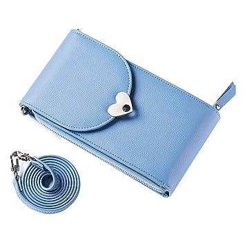 détaillant en ligne 9e278 f1509 Sac de Messager Sac de Téléphone Portefeuille Porte-Cartes Mini Sac  Bandoulière Sac Epaule en Cuir pour Filles Femmes iphone Samsung Gris Bleu