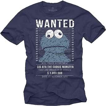 Camisetas Divertidas Hombre Manga Corta - Wanted Cookies Galletas