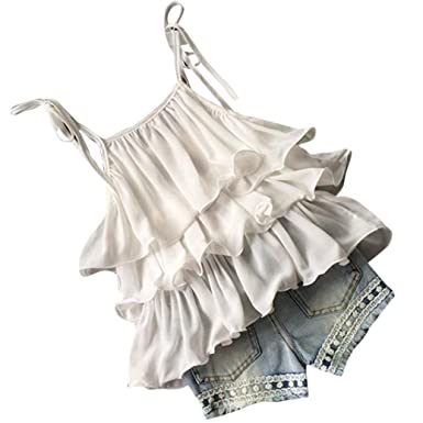 Toddler Kids Baby Girls Chiffon Pearl Vest Shirt Jean Shorts Outfits Clothes Set