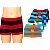 12 Knocker Boys Boxer Shorts Seamless Striped Spandex Kids Soft Underwear New M