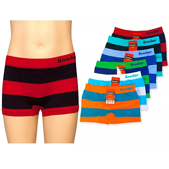 480ac7c19b6 Image Unavailable. Image not available for. Color: 6 Knocker Boys Boxer  Shorts Seamless Striped Spandex Kids Soft Underwear ...