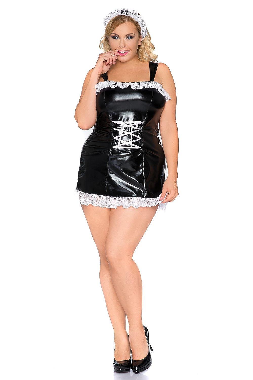 Amazon.com: Plus Size Fancy Two Piece Maid Costume Latex ...