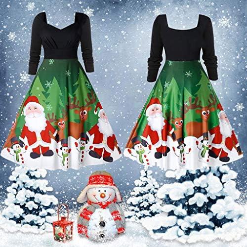 Santa Claus Printed Splice Belt Slim Christmas Prom Party Evening Dress Long-Sleeve Lazapa Womens Casual Retro Dress