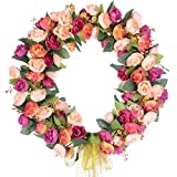 Lvydec Artificial Rose Flower Wreath, Door Wreath 14 Inch Fake Rose Spring Wreath Nearly Natural Round Wreath for Front Door, Wall, Party, Home Décor