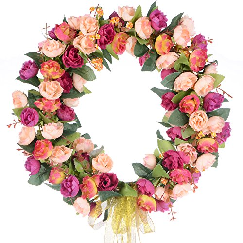 Lvydec Artificial Rose Flower Wreath, Door Wreath 14 Inch Fake Rose Spring Wreath Nearly Natural Round Wreath for Front Door, Wall, Party, Home Décor by Lvydec