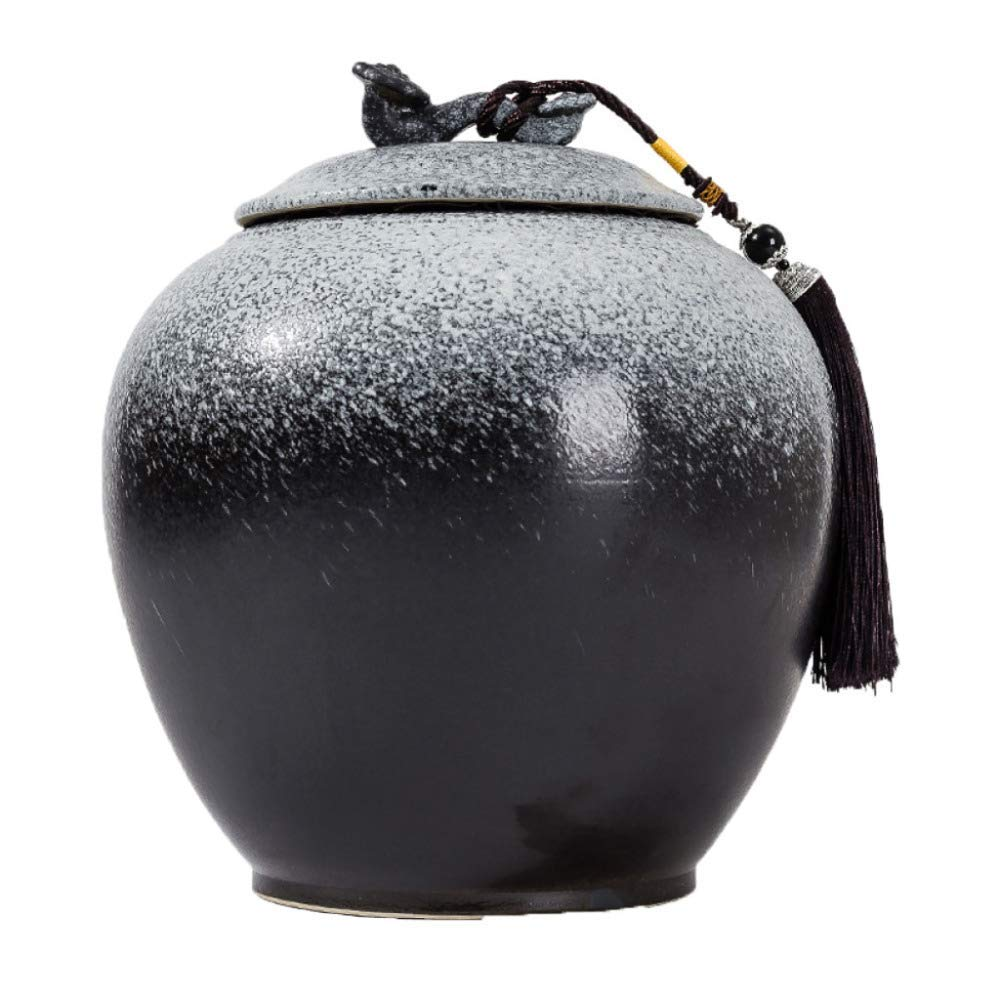 White+black Urns Keepsake Funeral Cremation Urn for Adult Ashes Pet Cabinet Showroom Sealing Ceramic Storage Jars- Fits A Small Amount of Cremated Remains,Red+Black-27  27  23cm
