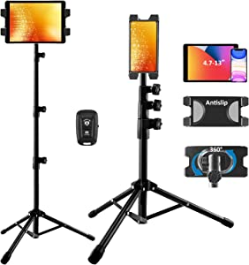 iPad Stand Tablet Tripod Stand,360 Rotating iPad Tripod Mount for Phone and iPad of 4.7-13
