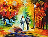 STROLLING TOGETHER (30 x 40) is an Original Oil Painting on Canvas by Leonid Afremov. This magnificent original oil painting features a couple walking their dog, holding hands as they stroll through a beautiful park. Your artwork comes Gallery Wrappe...