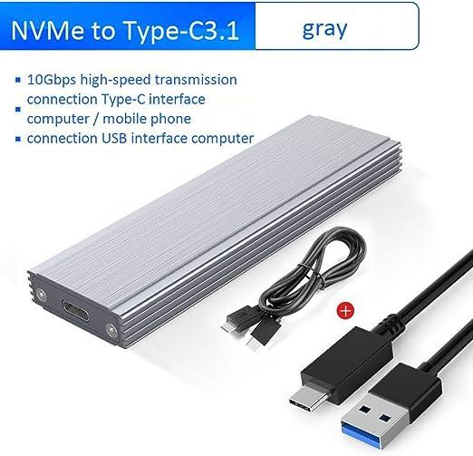 HWENJ NVME M.2 SSD Caja De Caja USB3.1 GEN2 10Gbps SSD Caja De Unidad