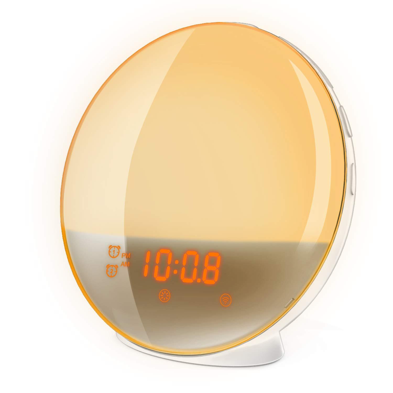 Wake Up Light,Luz de Despertador con Simulación de Amanecer Despertadores electrónicos Luz Nocturna Compatible con Alexa,Google Home 7 color Lámpara de ambiente Radio FM,función Snooze,Smartlife App
