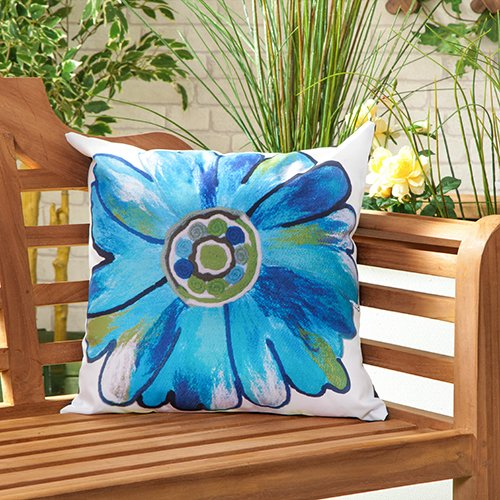 Daisy Turquoise Water Resistant Canvas Outdoor Scatter Garden Filled Cushion Printed 18