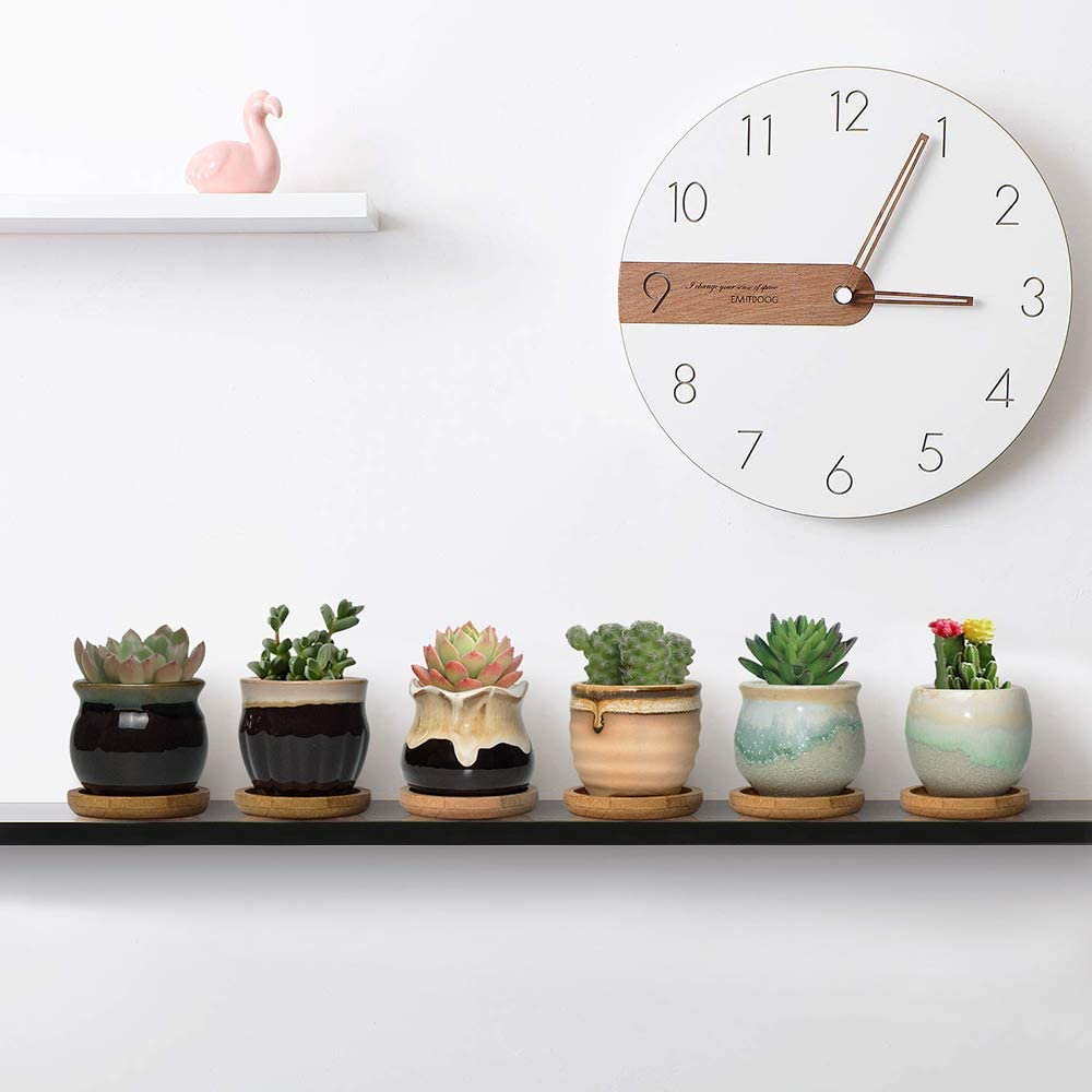 Perfect for Home Office Decor for Family Friends Colleague FairyLavie 6.5CM Ceramic Succulent Plant Pot Planter with Bamboo Tray Set of 6 Rustic Style Cute Little Pots for Plants