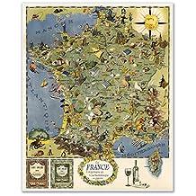 """The Gourmet MAP of France - Touristique et Gastronomique la France circa 1948 - measures 30"""" high x 24"""" wide (762mm high x 610mm wide)"""