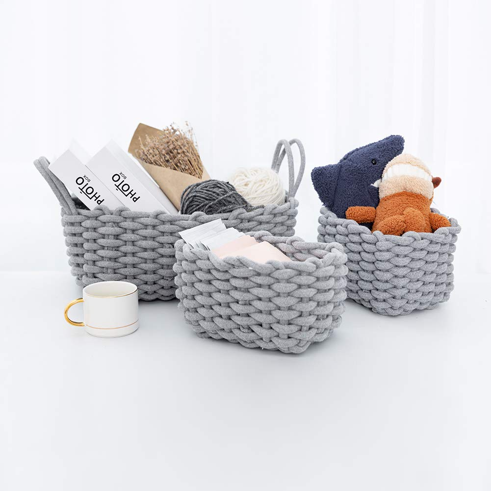 3 Pack,Grey CutieUnion Cotton Woven Storage Baskets with Dual Rope Handles for Toy Storage Durable Nursery Bins