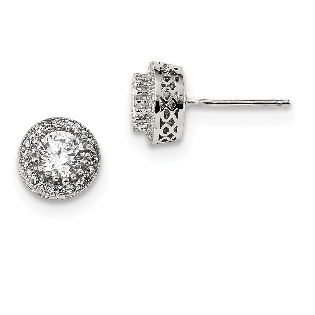 ICE CARATS 925 Sterling Silver Round Cubic Zirconia Cz Halo Post Stud Ball Button Earrings Fine Jewelry Ideal Gifts For Women Gift Set From Heart