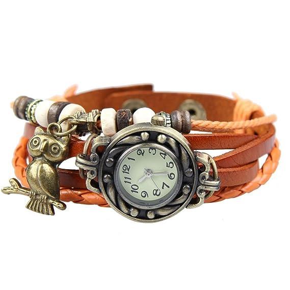 YARBAR las mujeres de los relojes de pulsera de época originales relojes de pulsera con colgante piel, diseño de búhos: Amazon.es: Relojes