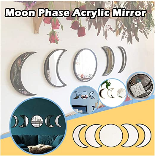 5 Pcs Scandinavian Natural Decor Acrylic Moonphase Mirrors Interior Design Wooden Moon Phase Mirror Wall Decoration for Home Living Room Bedroom Decor – No Need to Punch