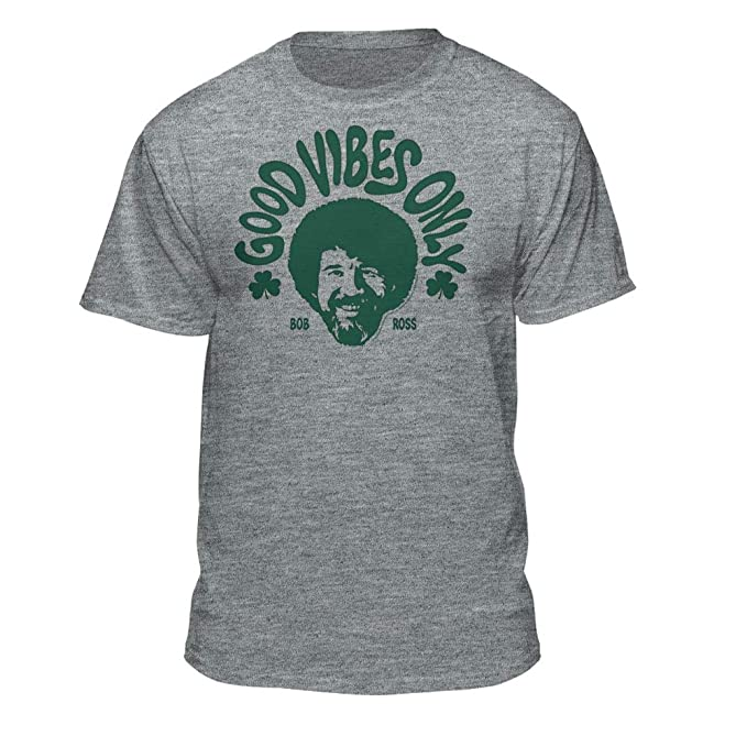1bdf3264 Bob Ross Good Vibes Only St. Patrick's Day Graphic T-Shirt   Amazon.com