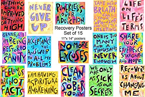 (Addiction Sobriety Wall art ★ SET of 15 ★ Wall Art Posters 12 Steps Sober Positive Recovery Affirmation Gift)