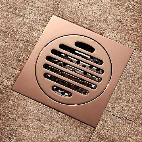 Kuingbhn Bodenablauf Antike Messing Goldene Anti-Geruch-und Insektenfest Bodenablauf Dach Anti-Wasser Bodenablauf 100x100x41mm für Badezimmer Dusche Zimmer Toilette Wäscherei Ga