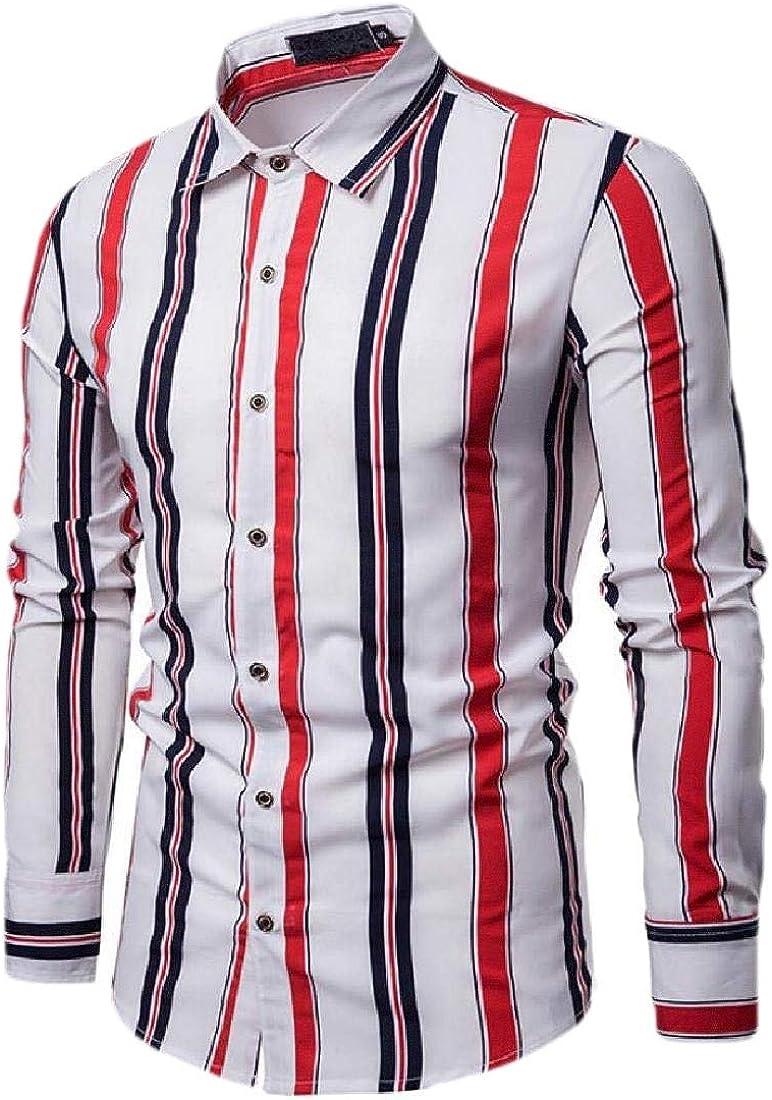 Beloved Men Vertical Striped Long Sleeve Button Down Dress Shirts