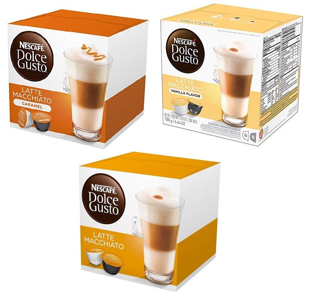 NESCAFÉ Dolce Gusto Coffee Capsules Latte Variety Pack - Original Latte Machiatto, Vanilla Latte Machiatto and Carmale Latte Machiatto 48 Single Serve Pods Total, Makes 24 Cups
