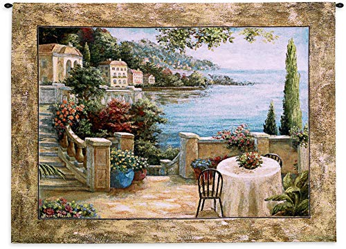 Mediterranean Terrace II by Vivian Flasch   Woven Tapestry Wall Art Hanging   Italian Villa Seaside Coastal Theme   100% Cotton USA Size 54x41