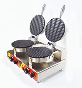 INTBUYING Double Station Ice Cream Cone Machine Electric Waffle Maker with Dual Baker