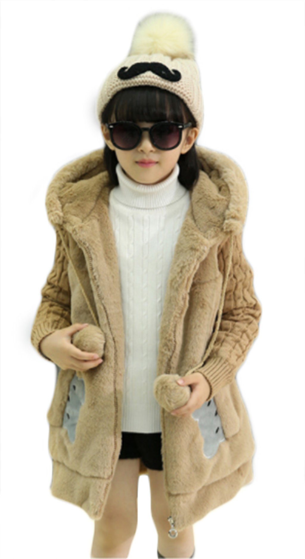 BANGELY Kids Girl Winter Warm Knited Fur Cartoon Coats Hooded Snowsuit Jackets Outerwear size 6-7 Years/Tag130 (Khaki)