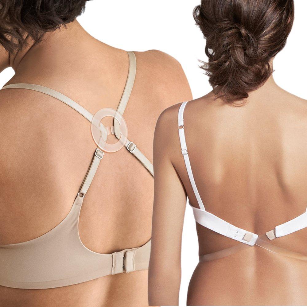 JUST BEHAVIOR Low Back Bra Converter Adjustable Strap Extender for Backless Dress