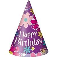 Unique Party - Gorros de Fiesta - Diseño de Flor de Cumpleaños - Paquete de 8 (40281)