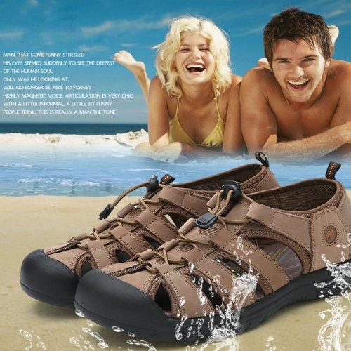 Dayiss® Herren Jungen Leder Sandalen Sport- & Outdoor Schuhe Sandaletten Kamelfarbe