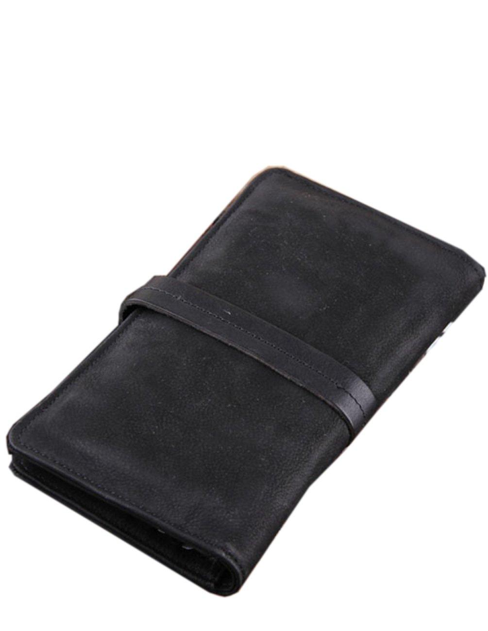 Menschwear Mens Genuine Leather Designer Wallet Credit Card Holder Purse Black