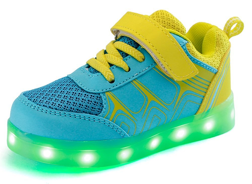 Led Sneakers Light Up Flashing Shoes Toddler Little/Big Kid Boy Girl Christmas Halloween Gift(Yellow 1.5 M US Little Kid)