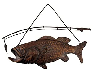 """Fishing Decor Largemouth Bass Fish and Fishing Pole Metal Wall Decor, 15"""""""