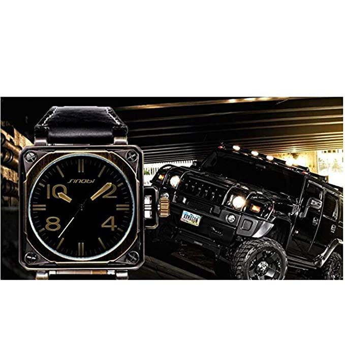 Amazon.com: SINOBI Motor Military Sport Man Square Leather Watches, Quartz Campaign Wrist Watches Bronze reloj hombre: Watches