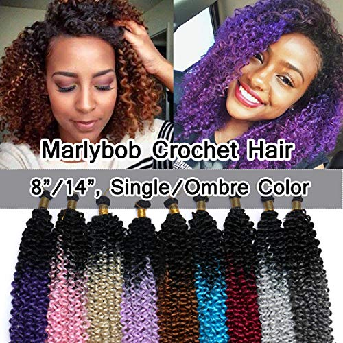 Marlibob Marlybob Crochet Braids Hair Extension 14 Inch Ombre Water Wave Crochet Braiding Hair Braids Kinky Curly Afro Jerry Curl Crochet Hair Weave for Black Women #Black to Dark Purple