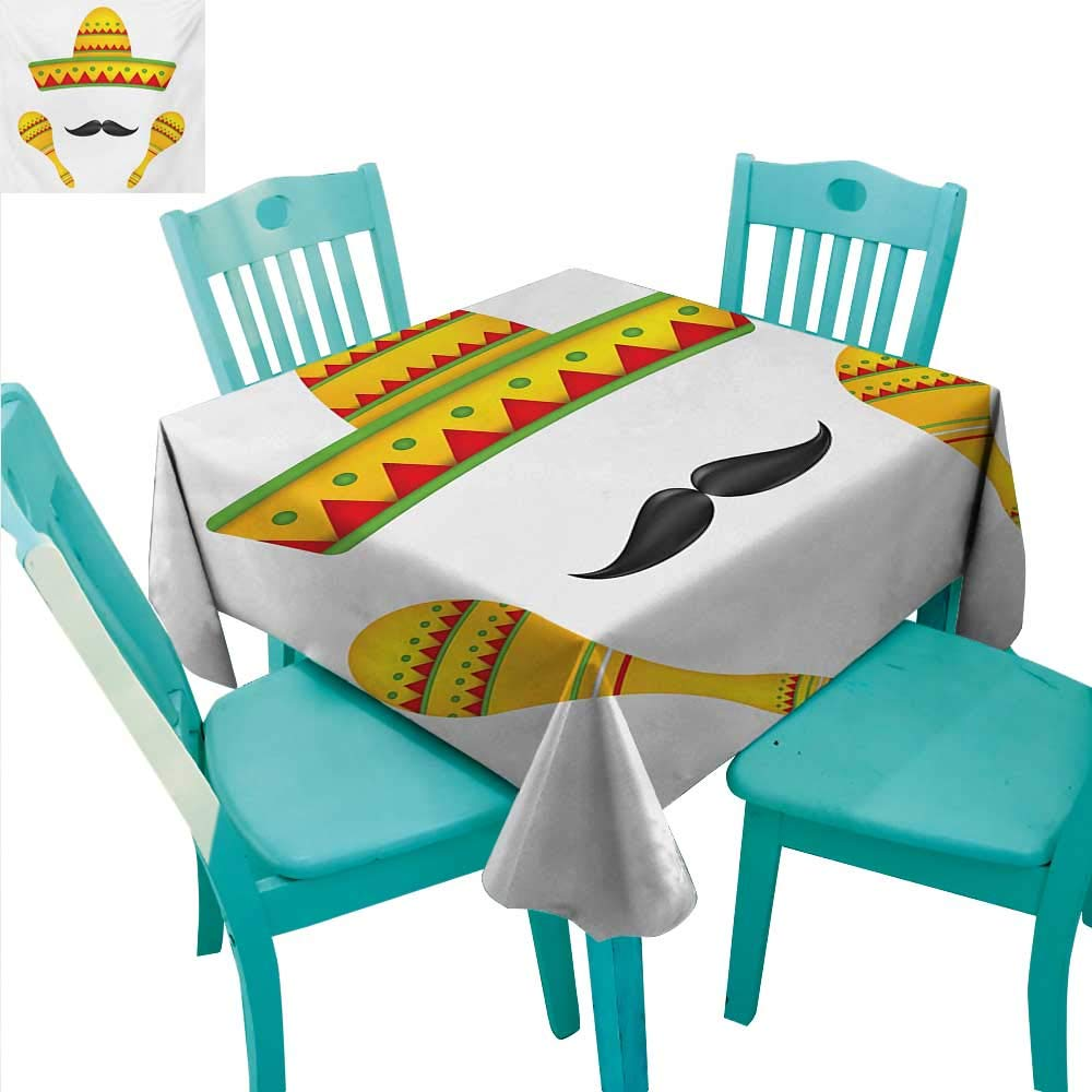 """WilliamsDecor Mexican Square Polyester Tablecloth Famous Centerpiece Icons of Mexico Sombrero Moustache Rumba Shaker Mesoamerican Print Great for Buffet Table 50"""" Wx80 L Yellow"""