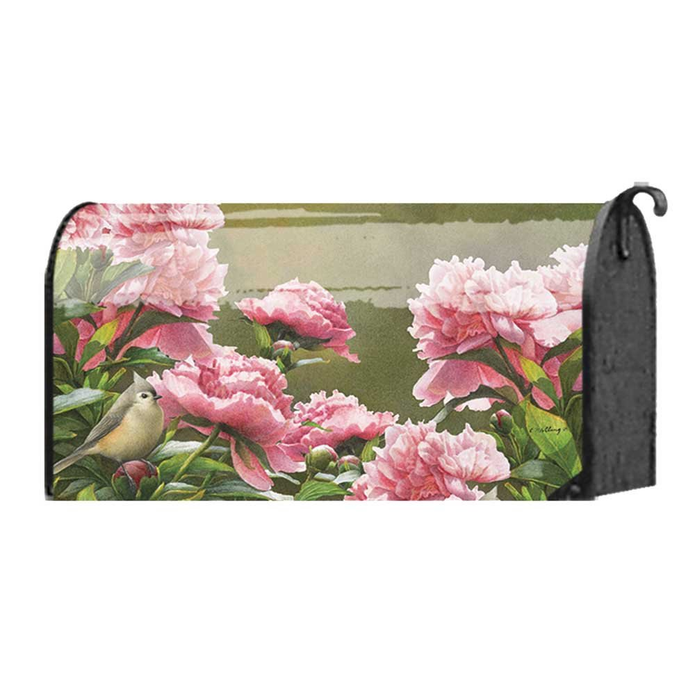 Pink Peonies and Little Finch Bird 22 x 18 Standard Size Mailbox Cover